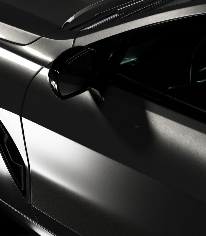 Detail shot of modern black premium car